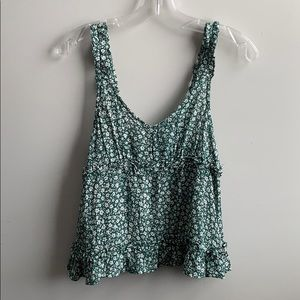 AEO Green Floral Tank